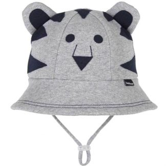 Bedhead Lil' Tiger Baby Bucket Hat With Strap - Grey Marle - 50cm / 1-2 Years / M