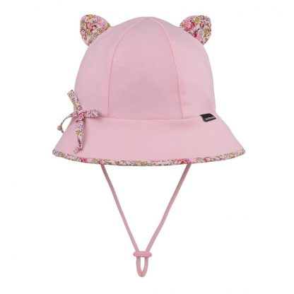 Bedhead Paisley Trimmed Baby Bucket Hat With Strap - Blush - 47cm / 6-12 Months / S