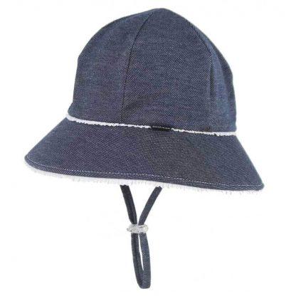 Bedhead Ponytail Ruffle Trim Bucket Hat With Strap - Denim - 52cm / 2-3 Years / L