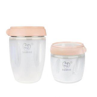 Haakaa Gen 3 Silicone Breast Milk Storage Container Set Peach